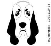 silhouette of a basset hound... | Shutterstock .eps vector #1092110495