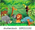 animals in tropical jungle | Shutterstock .eps vector #109211132