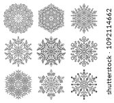 set of vector snowflakes. black ... | Shutterstock .eps vector #1092114662