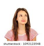 beautiful thoughtful woman... | Shutterstock . vector #1092123548