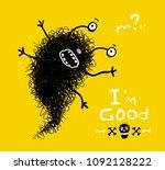 funny strange scribble monster. ... | Shutterstock .eps vector #1092128222