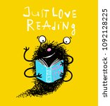 cute reading book monster... | Shutterstock .eps vector #1092128225