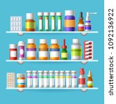 medication shelves. pharmacy... | Shutterstock .eps vector #1092136922