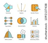 mathematics color icons set.... | Shutterstock .eps vector #1092137438