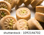 brown pera or pedha is an... | Shutterstock . vector #1092146702