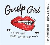 gossip slogan with lips... | Shutterstock .eps vector #1092157832