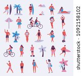 set of different people on the... | Shutterstock .eps vector #1092158102