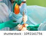 surgeon preparing breast... | Shutterstock . vector #1092161756