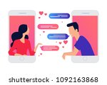 two lovers chatting on mobile... | Shutterstock .eps vector #1092163868