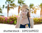 portrait of a beautiful young... | Shutterstock . vector #1092169022