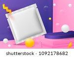 vector 3d realistic corner wall ... | Shutterstock .eps vector #1092178682