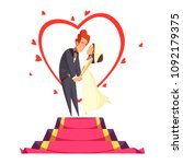 newlyweds during bridal kiss on ... | Shutterstock .eps vector #1092179375