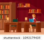 library reading room interior... | Shutterstock .eps vector #1092179435