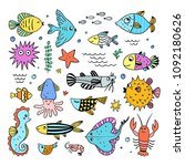 cute sea creatures set. fishes... | Shutterstock .eps vector #1092180626