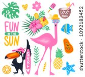 vector summer set with pink... | Shutterstock .eps vector #1092183452