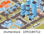 cityscape with public transport ... | Shutterstock .eps vector #1092184712