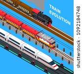 train evolution from retro to... | Shutterstock .eps vector #1092184748