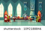 vector castle hall with king... | Shutterstock .eps vector #1092188846