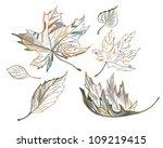 autumn leaves. sketch. | Shutterstock . vector #109219415