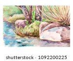 watercolor landscape tree and... | Shutterstock . vector #1092200225