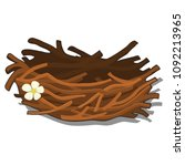 The bird's nest is woven of small twigs of wood isolated on white background. Vector cartoon close-up illustration. - stock vector