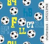 seamless pattern with soccer... | Shutterstock .eps vector #1092213968