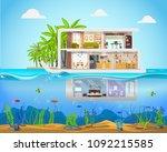 cross section house inside...   Shutterstock .eps vector #1092215585
