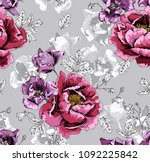 seamless floral pattern. violet ... | Shutterstock .eps vector #1092225842