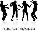 dancing people silhouettes.... | Shutterstock .eps vector #1092232658