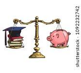 graduation cap  books and... | Shutterstock .eps vector #1092232742