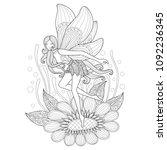 fairy and flower. zentangle... | Shutterstock .eps vector #1092236345