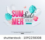 summer sale banner with paper... | Shutterstock .eps vector #1092258308