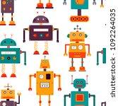cute robots seamless pattern....   Shutterstock .eps vector #1092264035