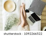 young woman working on laptop... | Shutterstock . vector #1092266522
