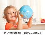girl  learning at kindergarten... | Shutterstock . vector #1092268526