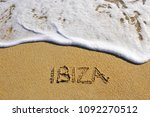 ibiza island sign on the beach  ... | Shutterstock . vector #1092270512