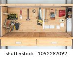 wooden workbench at workshop.... | Shutterstock . vector #1092282092