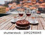 two glasses of madeira wine ... | Shutterstock . vector #1092290045