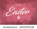 a happy easter greeting on a...   Shutterstock . vector #1092295148
