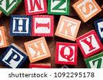 multi colored wooden letter...   Shutterstock . vector #1092295178