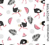 seamless summer pattern with... | Shutterstock .eps vector #1092297098
