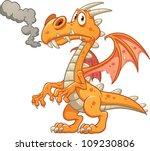 Orange Cartoon Dragon. Vector...