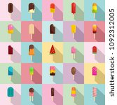 popsicle ice cream stick icons... | Shutterstock .eps vector #1092312005