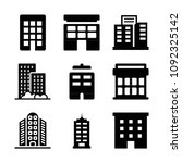 filled set of 9 apartment icons ... | Shutterstock .eps vector #1092325142