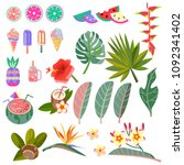 set of images of leaves ... | Shutterstock . vector #1092341402