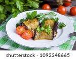baked stuffed eggplants with... | Shutterstock . vector #1092348665