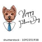yorkshire terrier dog. happy... | Shutterstock .eps vector #1092351938