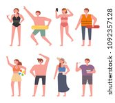 summer beach fashion characters.... | Shutterstock .eps vector #1092357128