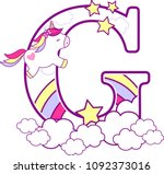 initial g with cute unicorn and ... | Shutterstock .eps vector #1092373016