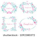 floral frame collection. set of ... | Shutterstock . vector #1092380372